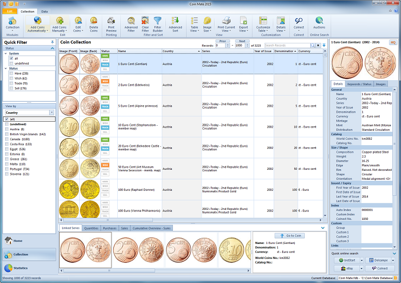 Manage your own Coin collection!